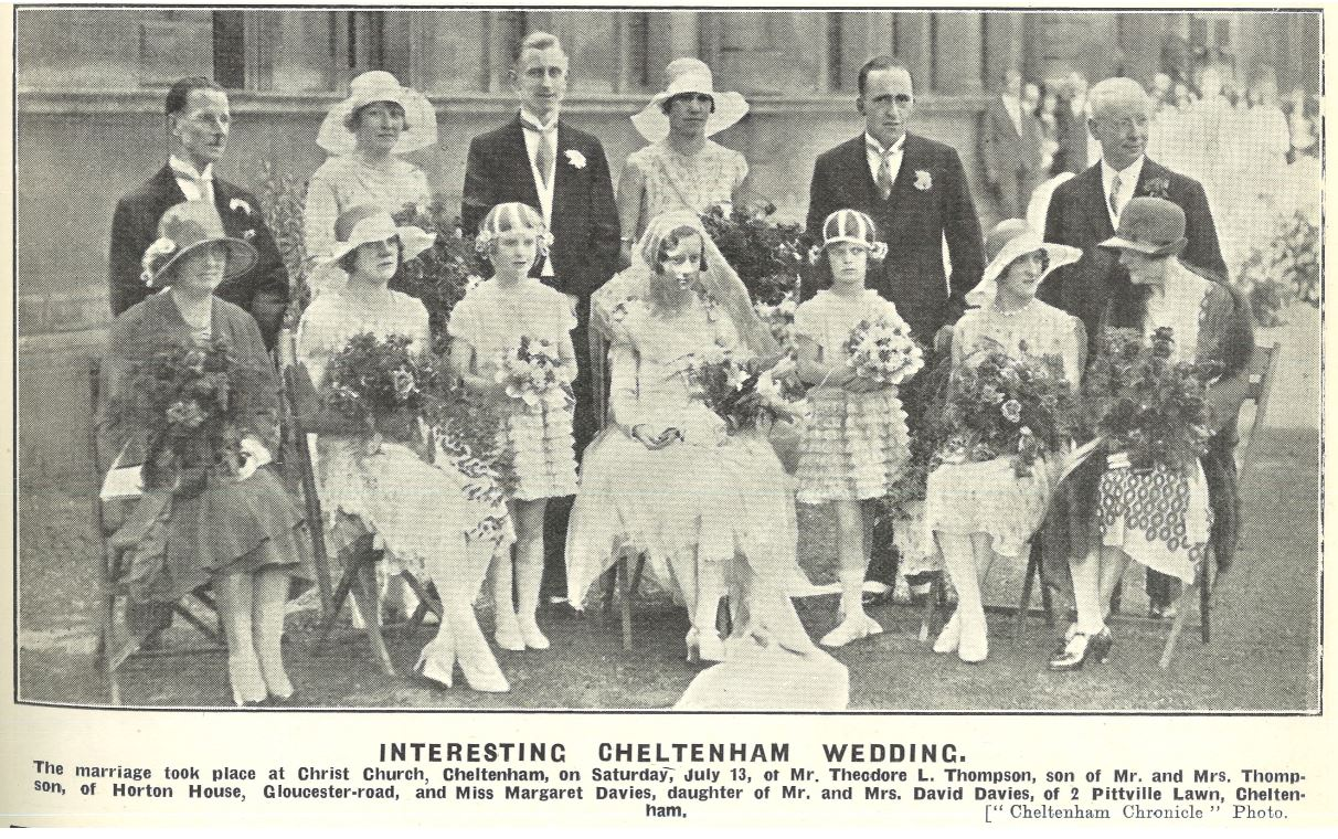 Margaret Davies's 'interesting' wedding in 1929<br><small><i>Cheltenham Chronicle and Gloucestershire Graphic</i> 27 July 1929</small>
