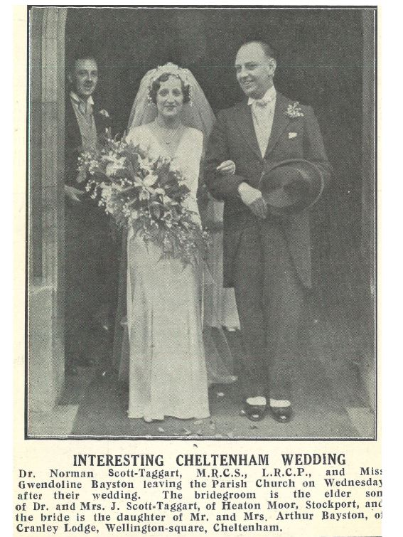 The newspaper caption almost seems to write itself for Gwendoline Bayston's wedding in 1932 <br><small><i>Cheltenham Chronicle and Gloucestershire Graphic</i> 12 November 1932</small>