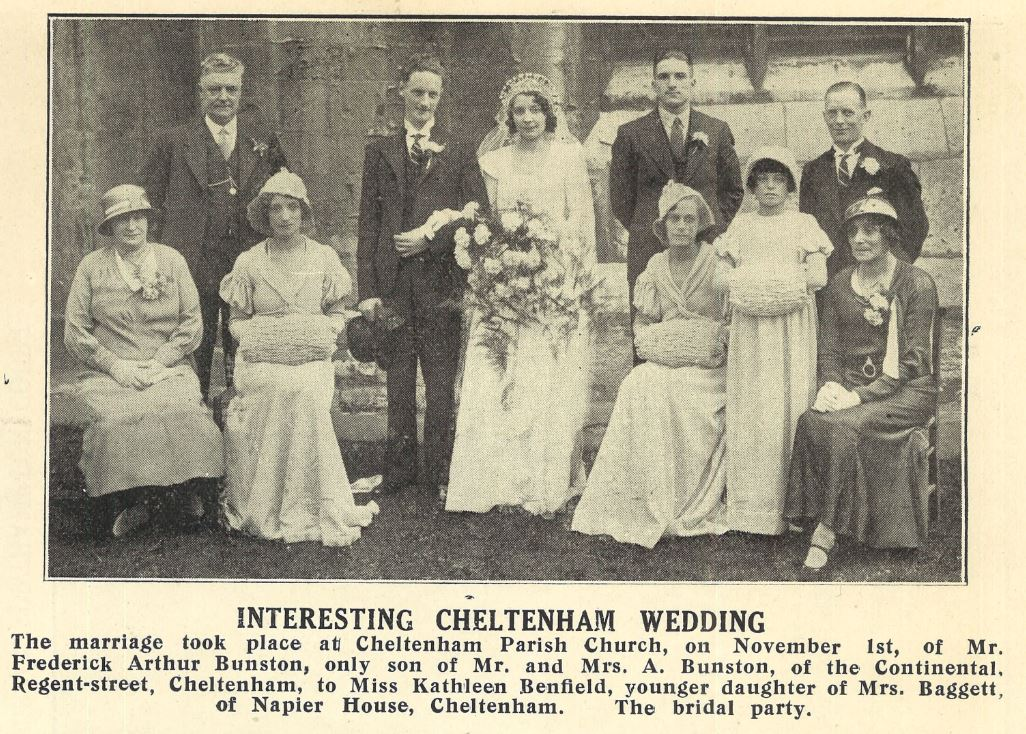 Kathleen Benfield's wedding in 1933.<br><small><i>Cheltenham Chronicle and Gloucestershire Graphic</i> 11 November 1933</small>