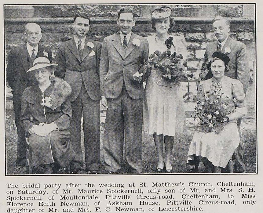 A wartime wedding of two neighbours from Pittville Circus Road.<br><small><i>Cheltenham Chronicle and Gloucestershire Graphic</i> 26 April 1941</small>